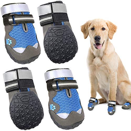 HOOLAVA Dog Shoes, Breathable Dog Boots Anti-Slip Waterproof Sole Dog Booties with Two Adjustable and Reflective Pet Shoes 4PCS(Size 7: 3.3'x3.1')