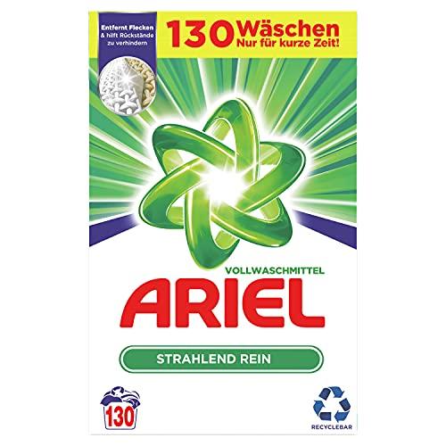 Ariel Waschmittel Pulver Waschpulver, Vollwaschmittel, 130 Waschladungen, Strahlend Rein (8 kg)