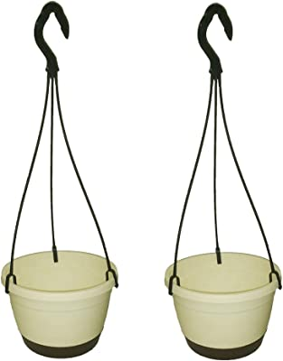 Hanging Pot/Planter for Balcony Home Garden with Suitable Tray Grey Color - Pack of 2 (Ivory)