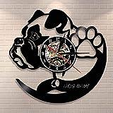 BFMBCHDJ Personalisierte Hund Wanduhr Verschiedene Hunderassen Vinyl Schallplatte Wanduhr Home Decor Wanddekor Hund Name Vinyl Uhr Geschenk Mit LED 12 Zoll