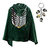 Anime Blanket Cape Men AOT The Wings of Freedom Anime Flannel Cloak Blanket Hood Scout Regiment Cosplay Robe (set03,XL,0)
