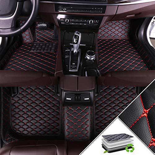 ALLYARD Autofußmatten Für Fo rd Mustang 2015-2019 XPE Leder Autoteppiche Schutzmatten rutschfest Set Volldeckung Auto-Fussmatten Anti-Rutsch-Teppich Schwarz und Rot