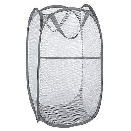 Bud Mesh Pop up Laundry Hamper Collapsible for Storage Portable Folding Pop-Up Clothes Hamper Laundry Basket for Kids Room College Dorm or Travel Grey