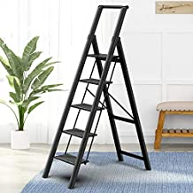 5 Steps Lightweight Aluminum Ladder Folding Step Stool Stepladders with Anti-Slip and Wide Pedal for Home and Kitchen Use Space Saving (Black)
