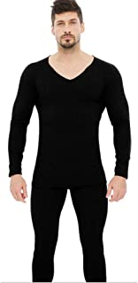Yamyannie-Clothing Men's Thermal Underwear Long Set Base Layer Top And Bottom (Color : Black, Size : XXL)