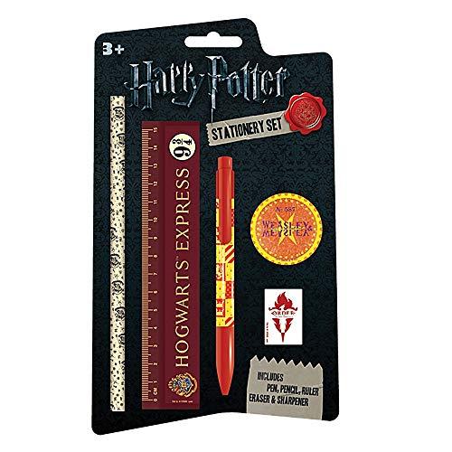 Echte Harry Potter Briefpapier Set Bleistift Radiergummi Lineal Spitzer Hogwarts
