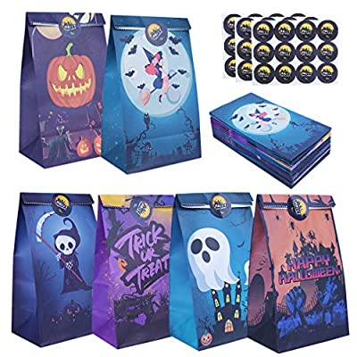 48 Packs Halloween Favor Bags Paper Candy Trick or Treat Gift Bag for Kids Halloween Theme Party Birthday Carnival Supplies, Grim Reaper Pumpkin Skeleton Witch Party Goodie Bags