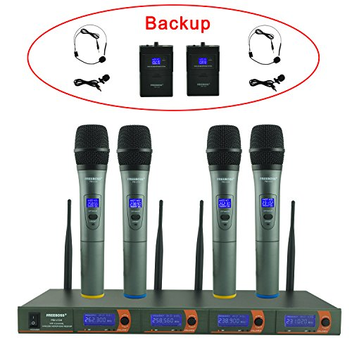 Freeboss FB-V04 4 Channel 4 Handheld Vhf Wireless Microphone (with 2 Body-pack Headset and Lavaliver Microphone Backup)