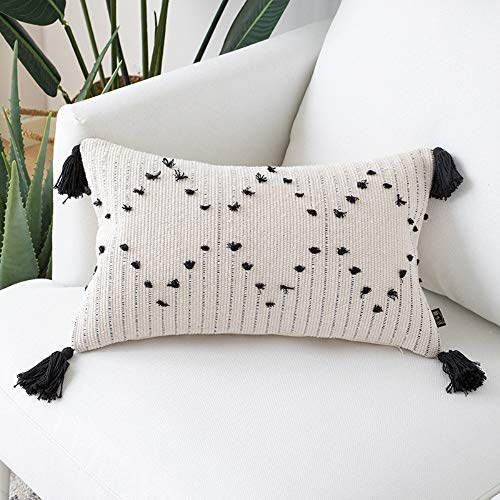 Unibedding Tufted Boho Lumbar Throw Fundas de almohada de 30,5 x 50,8 cm decorativa pequeña funda de almohada de algodón al aire libre rectangular funda de cojín para decoración de patio de granja