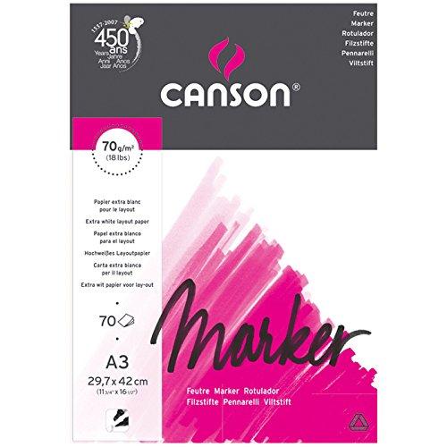 Canson Marker - Papel de dibujo (A3, 70 hojas), color blanco