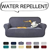 AUJOY Stretch Sofa Cover Water-Repellent Couch Covers Dog Cat Pet Proof Couch Slipcovers Protectors (Sofa, Gray)