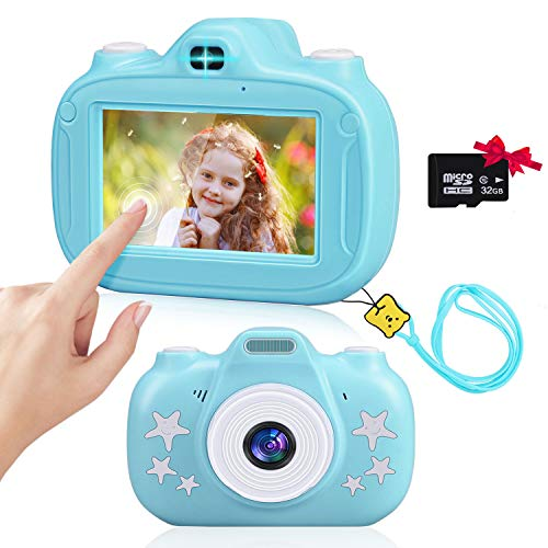 Aleath Kids Camera,3 Inch HD Touch Screen Seflie Camera for Kids,1080P IPS Shockproof Rechargeable Child Video Camcorder with 32GB TF Card,Best Toy Gifts for Boys and Girls Age 3-12(Blue)