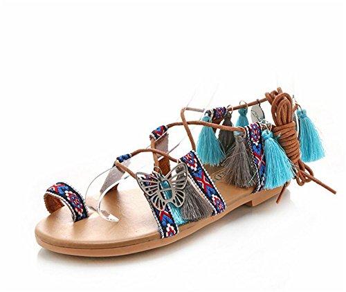SHUNLIU Sandalen Damen Flach im Ethno-Look Elegant Sandalen mit Bunt Bommel Sommerschuhe Strand Schuhe Mit modischer Fesselschnürung Verstellbare Schnalle
