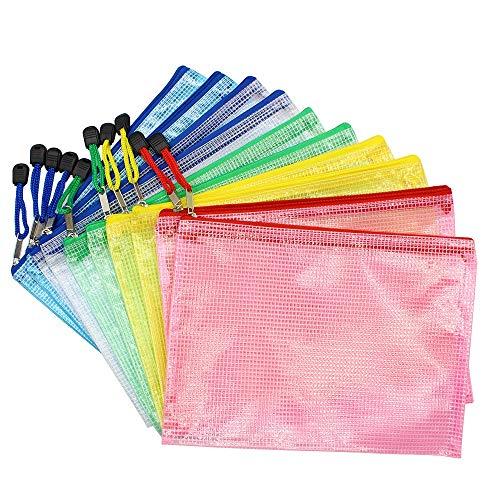 Hrroes A5 Borse di File Sacchetti Plastica di Zip Impermeabile Mesh Sacchetto del Documento per Uffici Cosmetici Forniture Accessori da Viaggio, 5 Colori (10pcs)