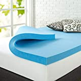 Zinus Green Tea Cooling Gel Memory Foam Mattress Toppers, Twin, Blue
