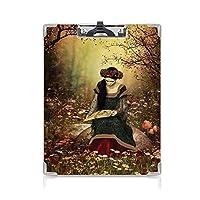 フォルダーボードフォルダーライティングボード 中世の装飾 事務用品の文房具 (2パック)女性は石の上に座って本を読んで森の花草と木中世の芸術マルチ