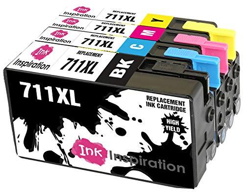 INK INSPIRATION® Sostituzione per HP 711 711XL Cartucce d'inchiostro Kit 4, Compatibile con HP DesignJet T120 T520, Nero/Ciano/Magenta/Giallo
