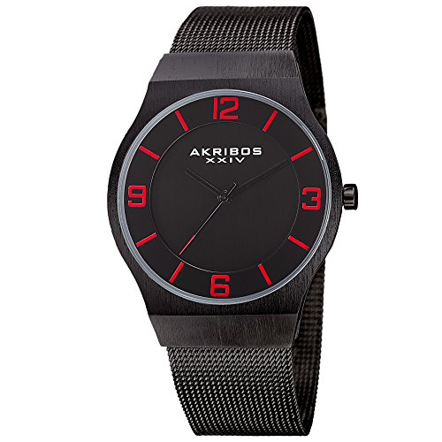Akribos XXIV Omni Mens Casual Watch - Brushed Center Dial - Japanese Quartz - Stainless Steel Mesh Strap - Black Red