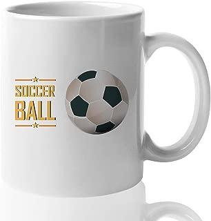 Soccer Ball Coffee Mug Soccer Ball Design Football Field Sport Coach Athlete Soccer Player Soccer Fan World Cup Euro EPL Striker Keeper Goal 15 Oz