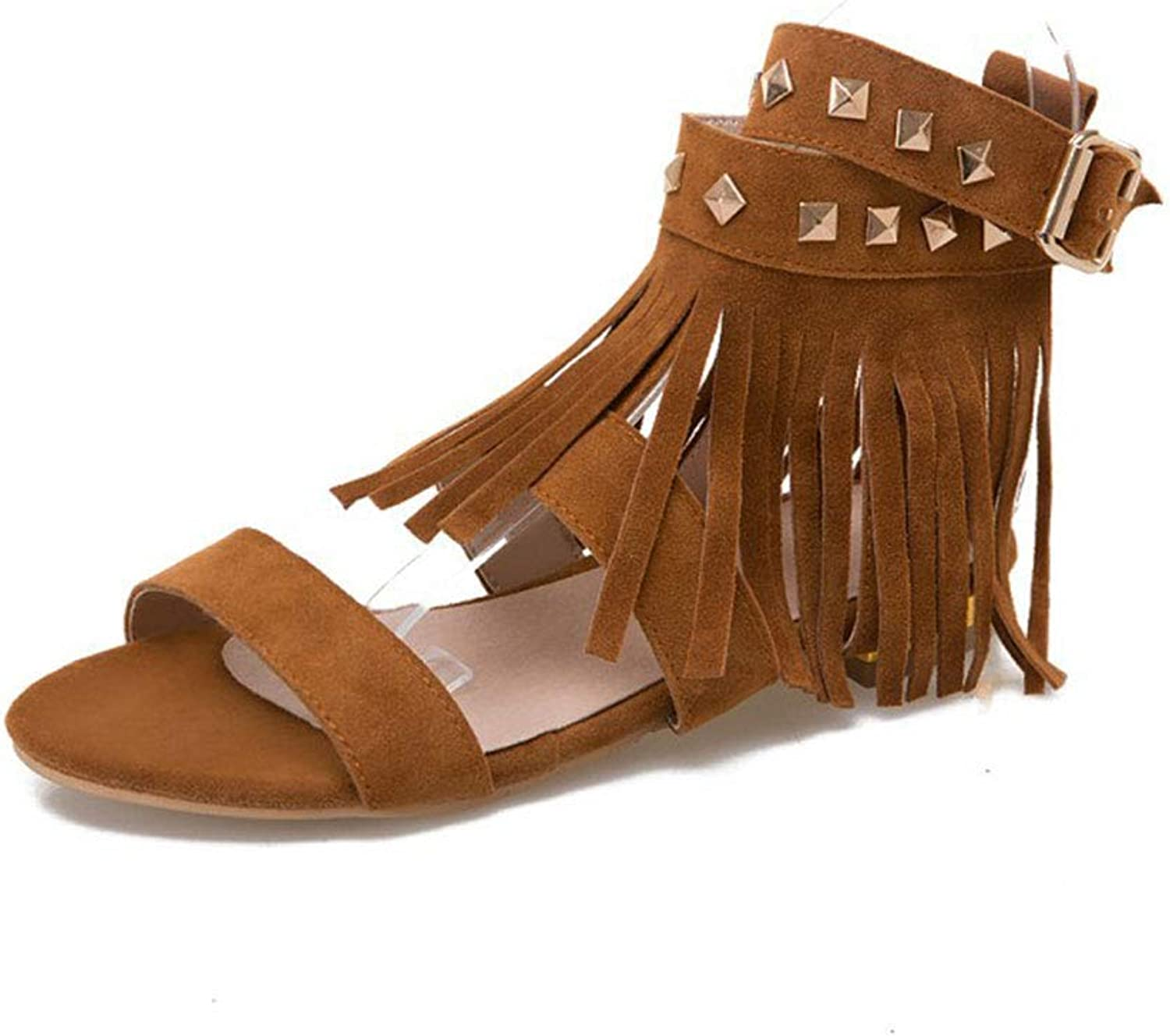 Women's Flat Sandals Gladiator Peep Toe Summer shoes with Tassel Flip Flops Casual shoes for Walking Vacation
