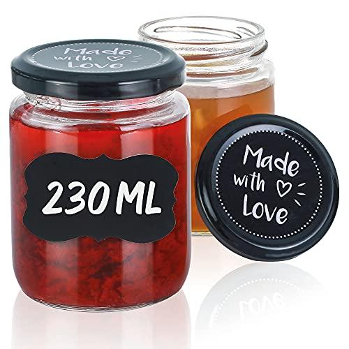 Lot de 25 Pots en Verre de 230 ml - Avec Etiquettes et Stylo - Bocaux de Conserve Hermétiques a Confitures
