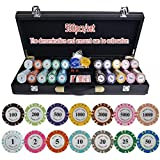 Dsnmm Texas Hold'em Poker Chips Conjunto con PU-Piel/Caja/Maleta Corona ficha de póker de la Arcilla fichas de póquer fichas de Casino 200/300 / 400 / 500PCS / Set (Color: 400pcs Cuero)