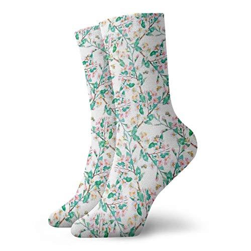 Calcetines suaves de media pantorrilla, patrón de flores de cerezo rosa con abejas japonesas con estampado chic de primavera japonesa, calcetines para mujeres y hombres, ideales para correr