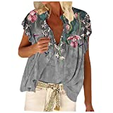 Camiseta de tirantes para mujer, cuello en V, manga corta, plisada, sin mangas gris S