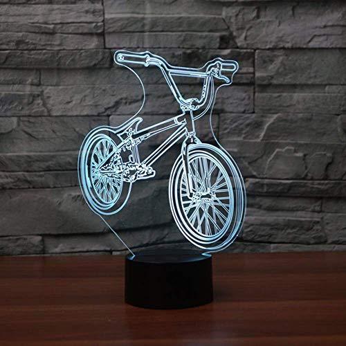 Lámpara de mesa LED 3D para mesita de noche BMX con forma de bicicleta USB, 7 cambios de color para decoración del hogar, dormitorio, iluminación de sueño