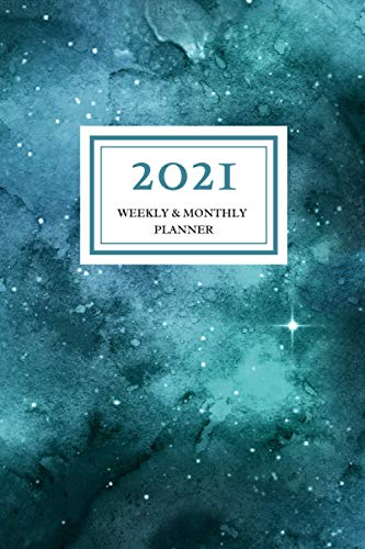 2021 Weekly & Monthly Planner: Teal Green Galaxy Watercolor, January 2021 – December 2021, 6 x 9 sized, Calendar and Organizer, Soft Flexible Cover Minimalist Planner