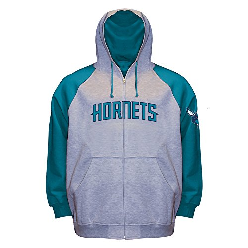 NBA Charlotte Hornets Long Sleeve Zip Raglan Fleece Jacket, Gray Heather/Teal, 3X/Tall