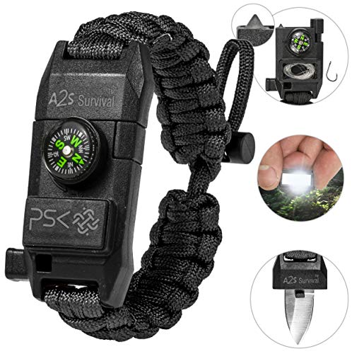 A2S Protection PSK Paracord Armband 8-in-1 Persönliches Survival Kit Urban & Outdoor Survival Messer, Feuerstarter, Glasbrecher, Survival Pfeife, Signalspiegel, Angelhaken & Schnur, Kompass (schwarz)