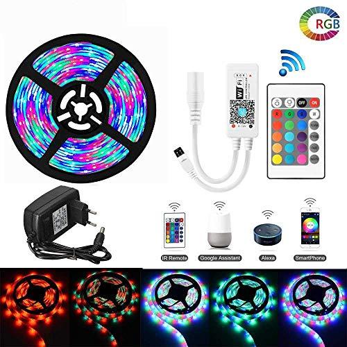 YSNMM RGB Diode Tape Flexibele lichtslang 5 m 10 m 15 m waterdichte strepen Google Home Alexa WiFi LED Controller 12V Adapter