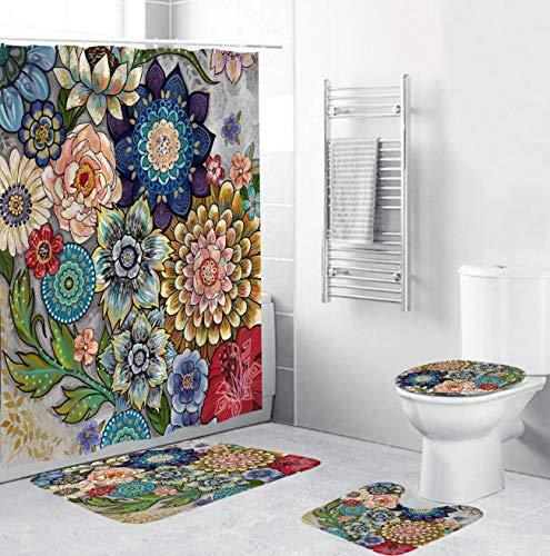 Yeacun Duschvorhang-Set mit rutschfestem Teppich, WC-Deckelbezug & Badematte, bunte Farben, Blumen-Duschvorhang mit 12 Haken, wasserdicht, Regentropfen-Duschvorhang für Badezimmer, 4 Stück