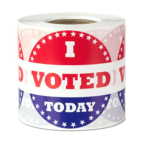 I�Voted Today Circle Voting Label Round Self Adhesive Stickers Red White Blue 2 inch 300 Labels per Package