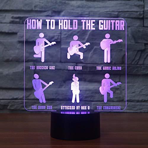 JYHW 3D-gitarist modellering lamp 7 kleuren wijzigen, visueel LED Touch Button Nachtlampje als het vasthouden van de gitaar etc. Tafellamp voor kinderen