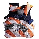 Beddingwish 3Pcs Orange and White Geometric Stripe Pattern Duvet Cover (No Comforter),Breathable,Reversible,Polyester Bedding Set Twin for Girls and Kids -Orange,White,Navy Blue