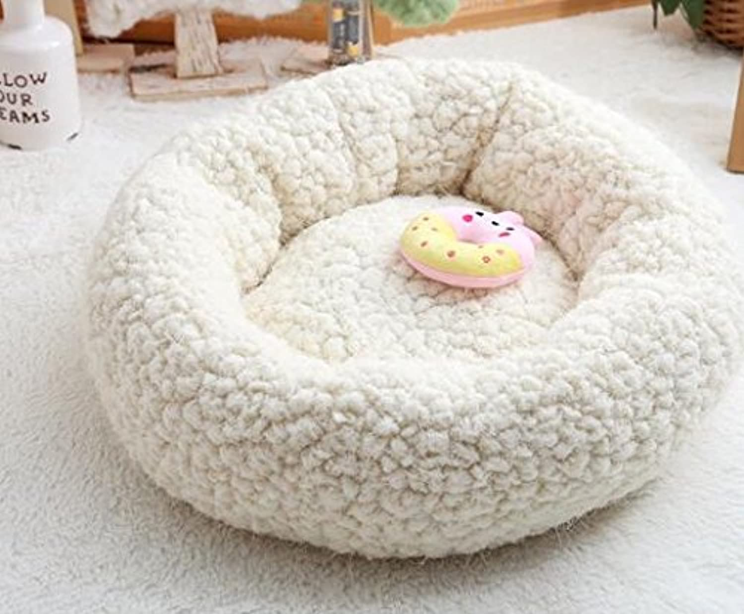 Cat Warmer Mat Sweet Candy color Round Nest Kennel Pet Nest CreamyWhite