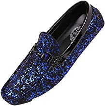 Amali Monty, Mens Loafers – Mens Slip On Shoes - Mens Moccasins - Metallic Splatter Driving Shoes for Men - Men Shoes Dress - Moccasins for Men - Men Shoes Casual - Royal Size 13