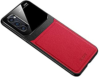 جراب لهاتف Oppo Reno 4 من الجلد الناعم والسليكون غطاء حماية زجاجي Reno4 - أحمر