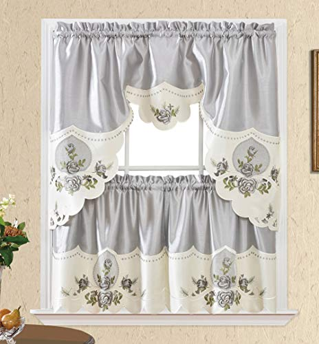 Rose Melody. 3pcs Kitchen Cafe Curtain Set. Swag and 24 inches Tiers Set for Small Windows. Nice Matching Color Rose Embroidery on Border and Inserted Organza. (Silver Grey)