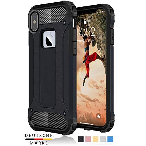 BYONDCASE iPhone X/XS / 10 Panzer Outdoor Case Hülle Ultra Slim Komplettschutz [Hybrid TPU Silikon Hardcase] Handyhülle in Schwarz Rundumschutz komplett kompatibel für iPhone X/XS Handy
