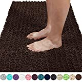 Yimobra Original Luxury Shaggy Bath Mat, Super Absorbent Water, Non-Slip, Machine-Washable, Soft and Cozy, Thick Modern for Bathroom Bedroom (44.1 X 24 Inches, Brown)