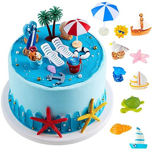 24 Decorazioni per Torta da Spiaggia Hawaiana Topper per Torte con Palme Verdi Ombrelloni e Sedie da Spiaggia Estive per Compleanno Matrimoni Baby Shower a Tema Spiaggia Hawaiana