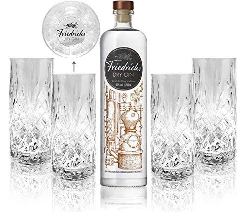 Friedrichs Dry Gin 0,7l 700ml (45% Vol) + 4x Friedrichs Longdrink Gläser -[Enthält Sulfite]