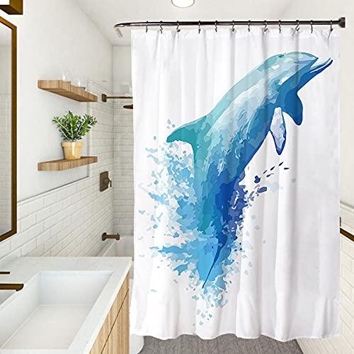 Cortina de ducha, impermeable resistente al moho cortina de ducha, protección del medio ambiente gruesa cortina (150X180CM) delfín
