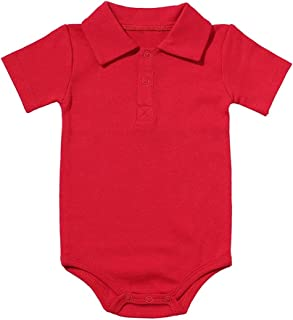 Baby Boy Girl Rompers SummerTurn-Down Collar Infant Newborn Cotton Clothes Jumpsuit for Toddlers Outfits 0-2Y (Color : Re...