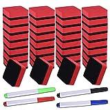 SIQUK 36 Packs Dry Erase Eraser Magnetic Whiteboard Eraser Red Chalkboard Cleansers Wiper(...