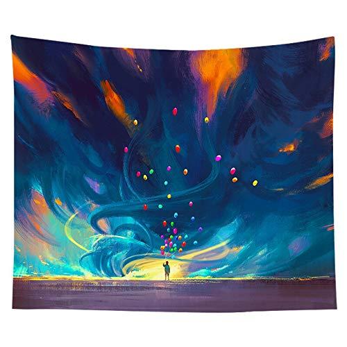 Tapiz colorido para colgar en la pared, mandala indio, cielo, puesta de sol, tapiz hippie, tapiz decorativo boho, manta de pared A10, 180x200cm