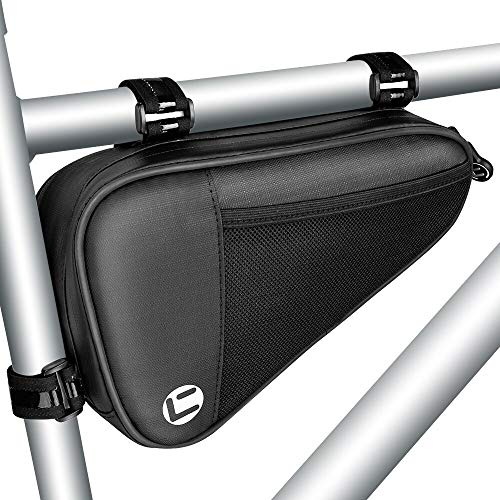 WOTOW Bike Triangle Frame Bag, Bicycle Handlebars Top Tube Tools Storage Bags Pouch Saddle Waterproof Large Capacity Outdoor Cycling Accessories for Mountain Road Bikes (Black)